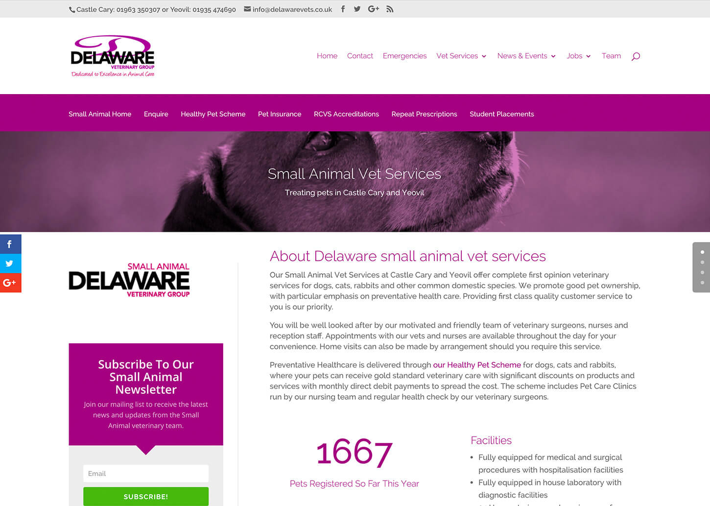 User friendly vet website: Pet owners testimonials page