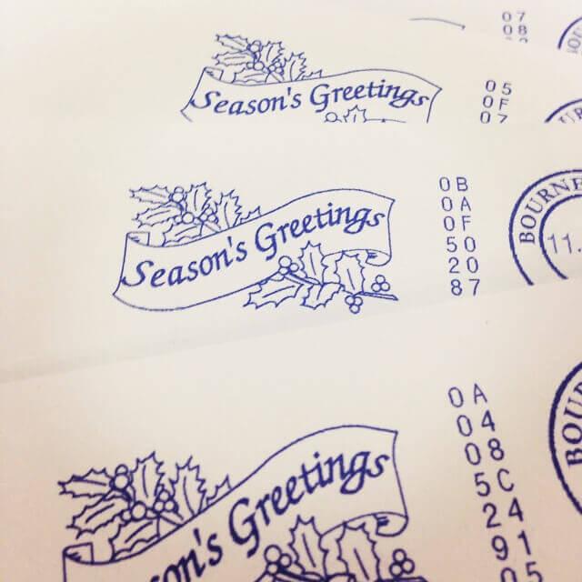 Christmas Card Printing - Franking machine, Seasons greetings message