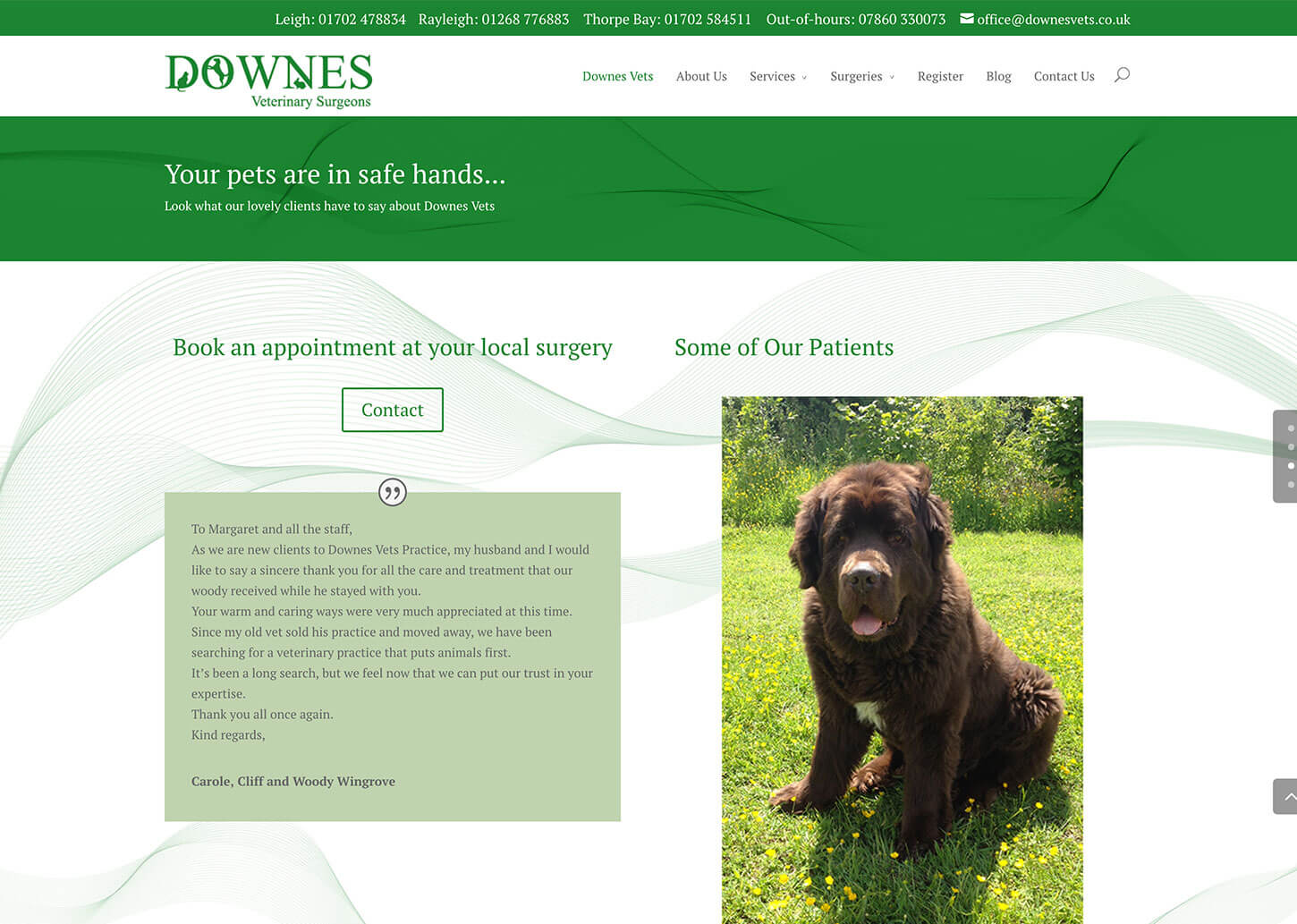 Vets website design for Downes Vets: Pet owners testimonials page
