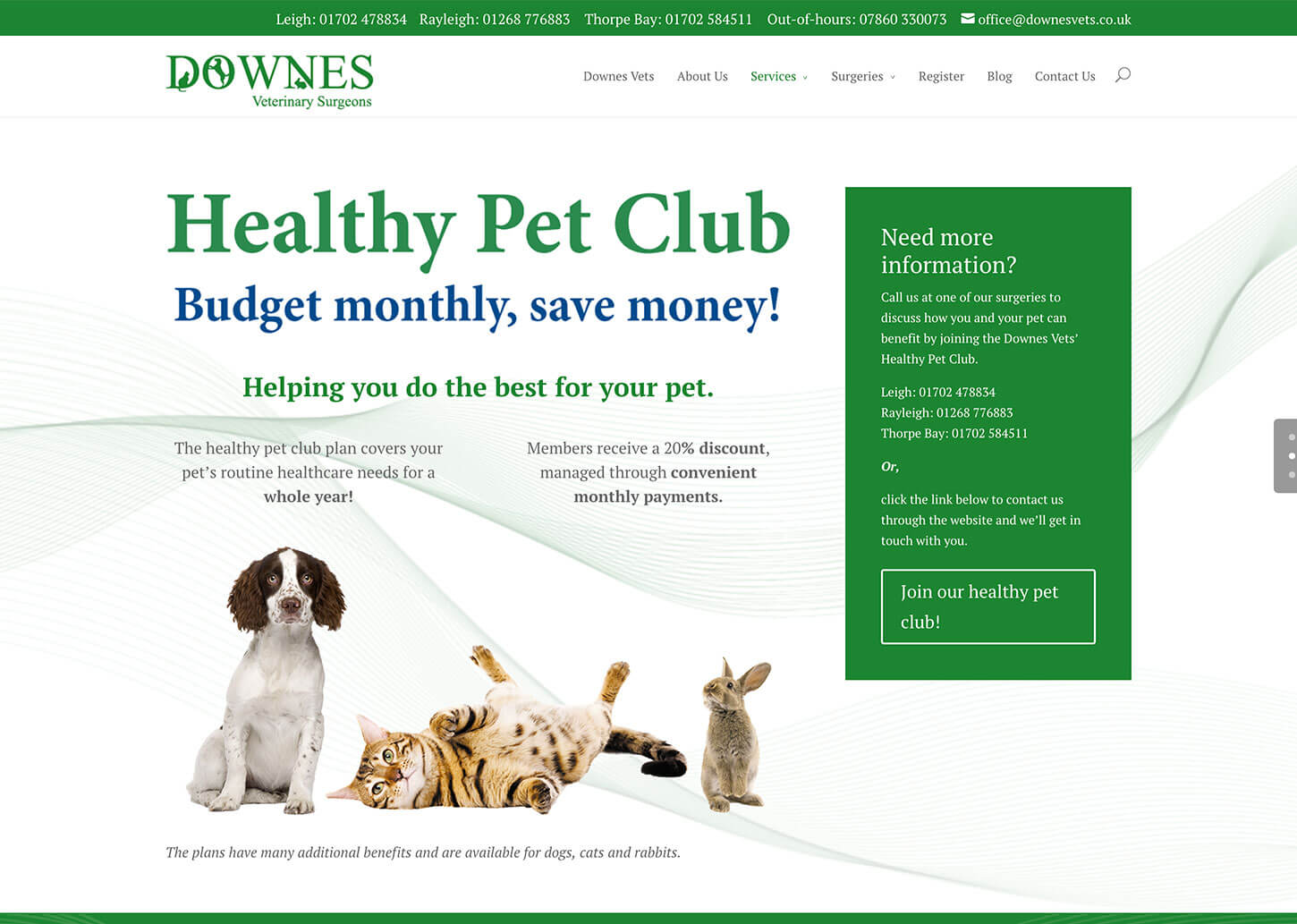 Vets website design for Downes Vets: Healthy pet club
