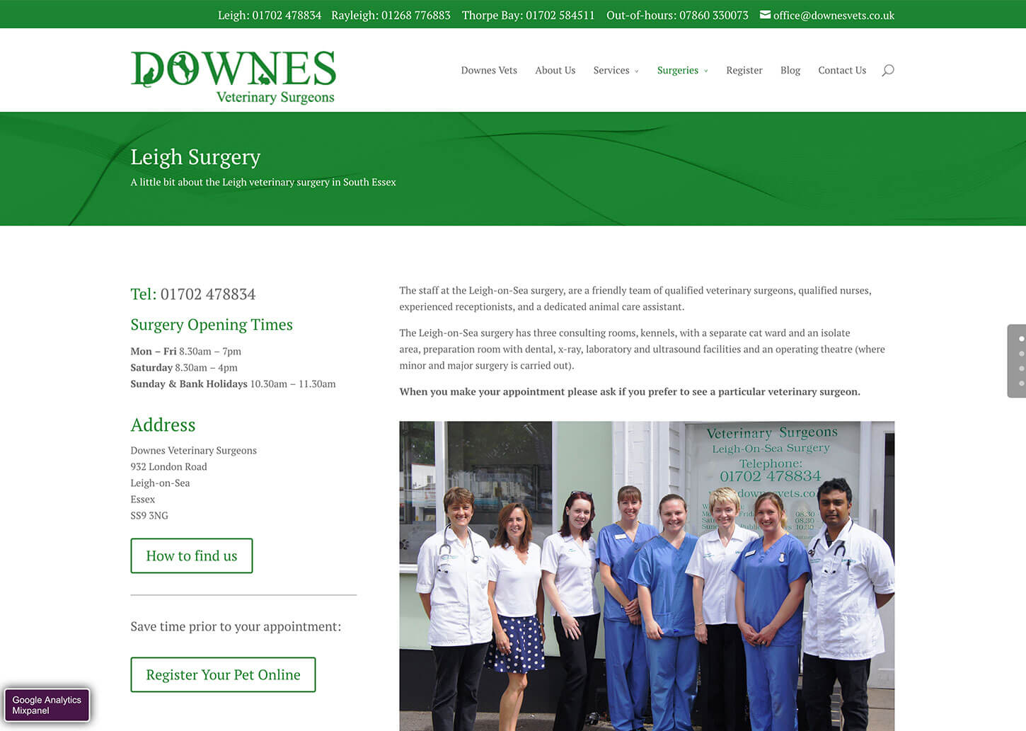 Vets website design for Downes Vets: Example Practice page