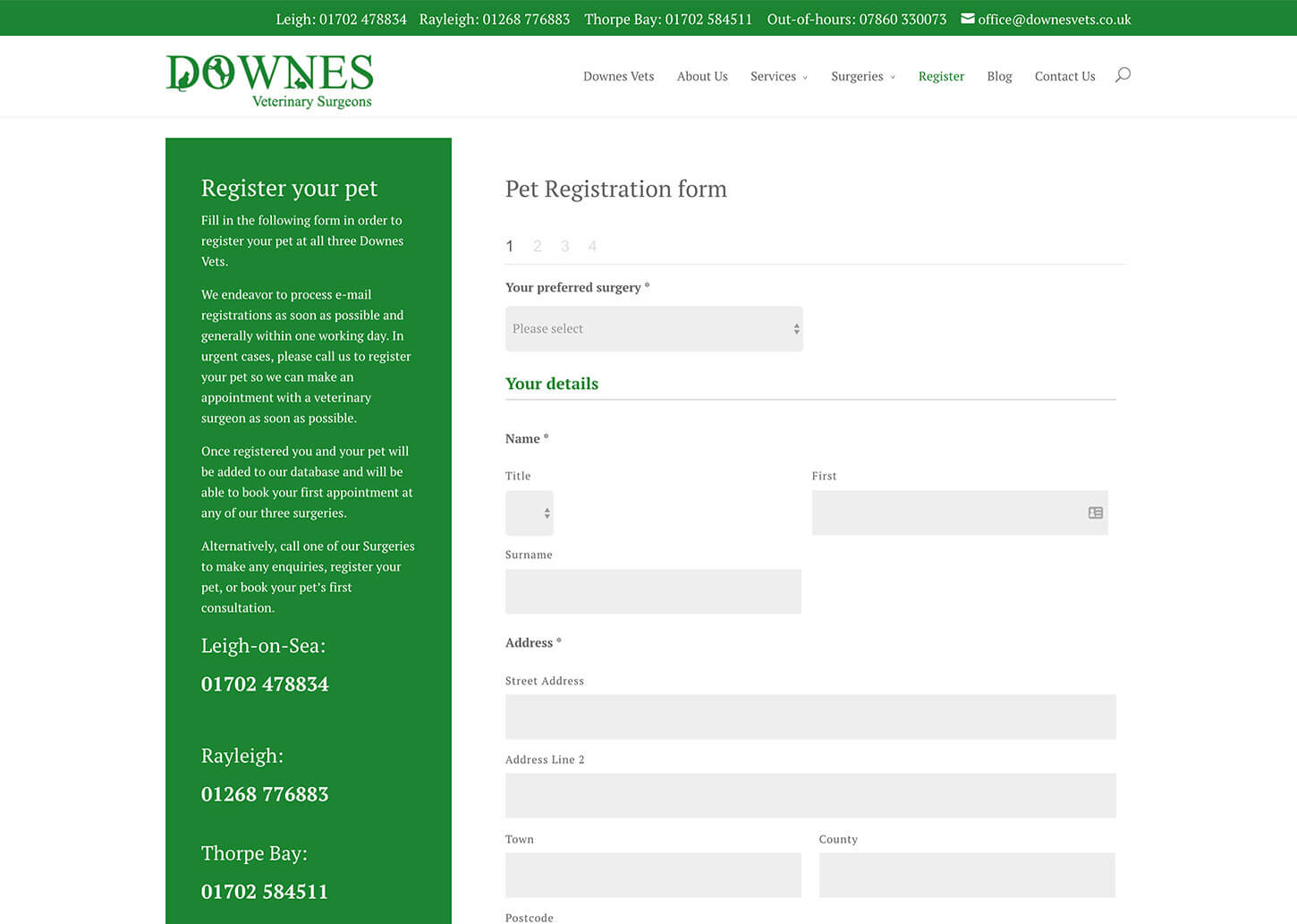 Vets website design for Downes Vets: Online pet registration form