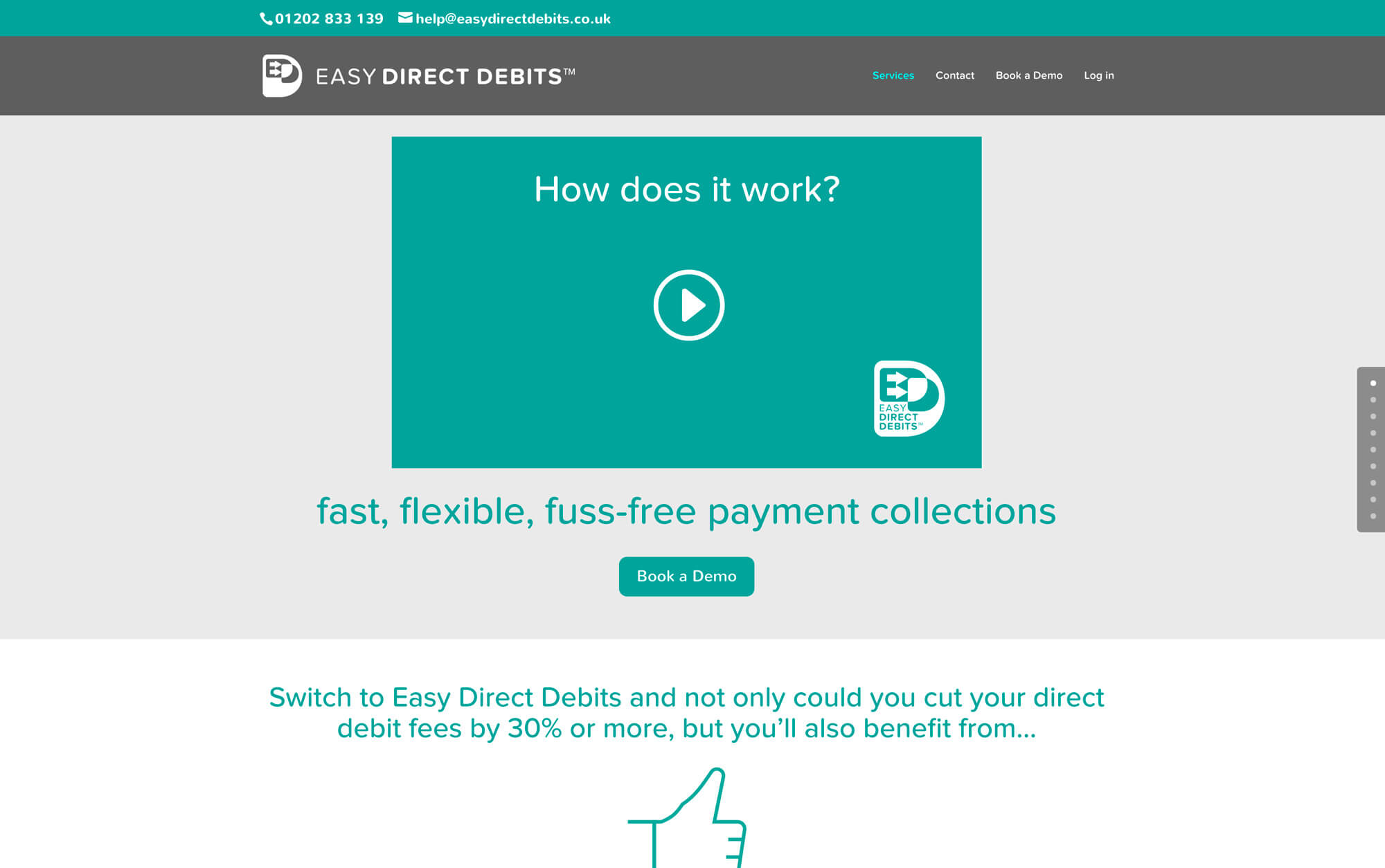 Easy Direct Debits: financial website design - Home page