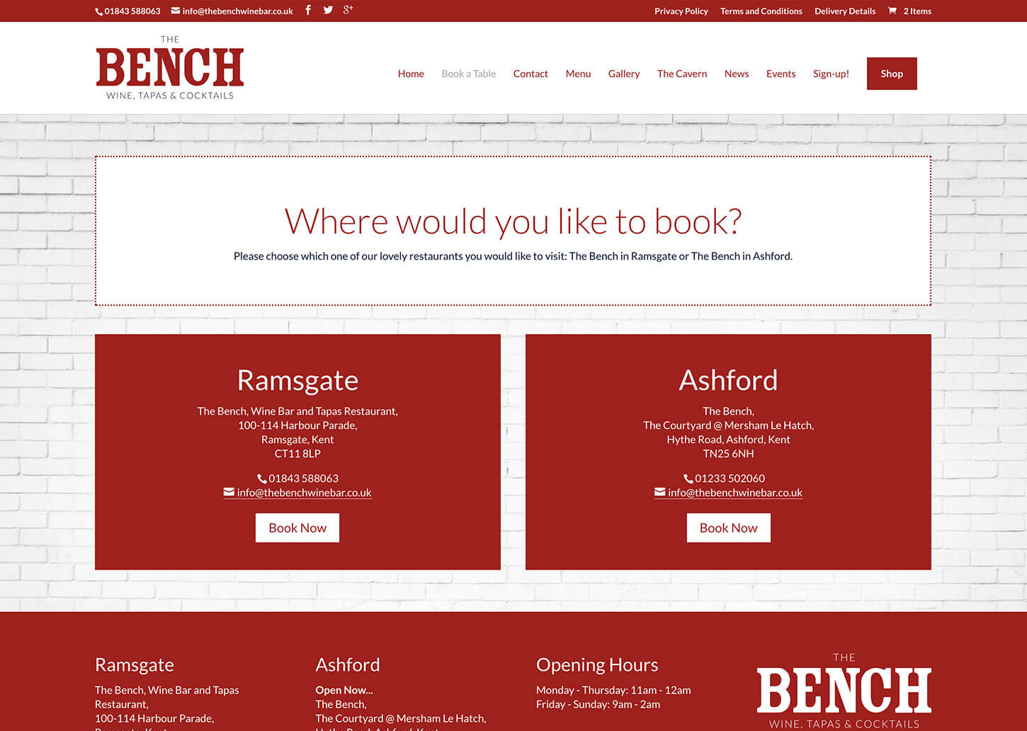 The Bench Restaurant website design - Booking page