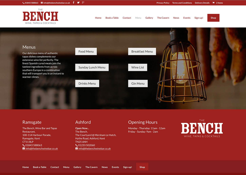 Restaurant website design for innovative new winebar in