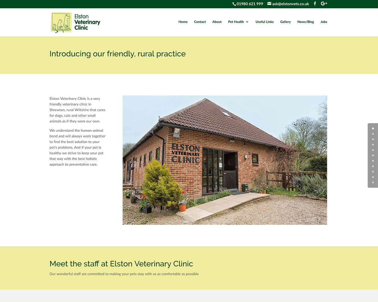 Veterinary website design for Elston Vets: About page