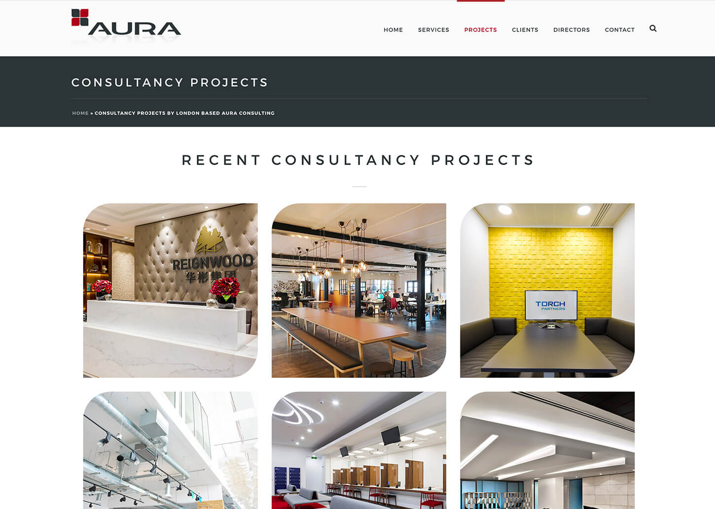 Project management company website: Consultancy project page