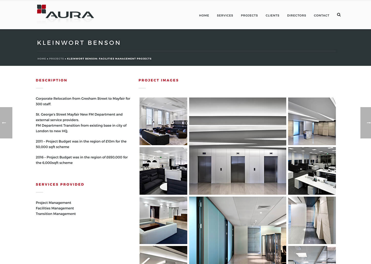 Project management company website: Example project page