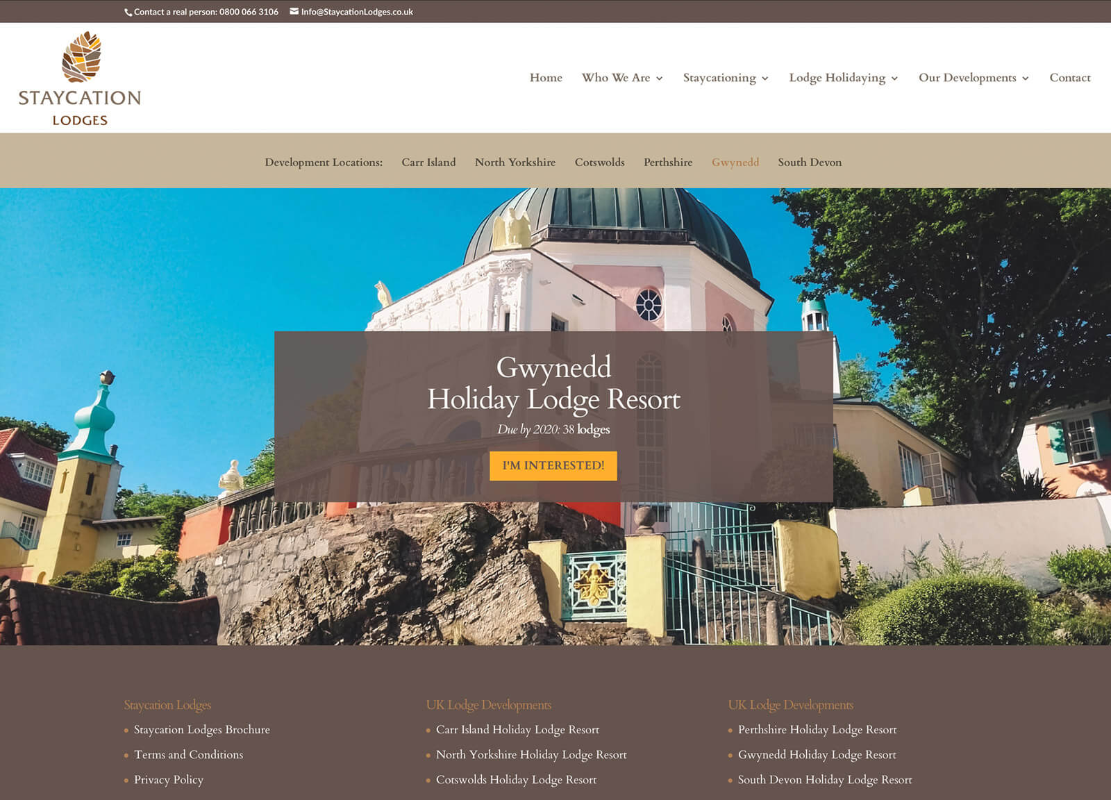 holiday resort website - Individual resort page