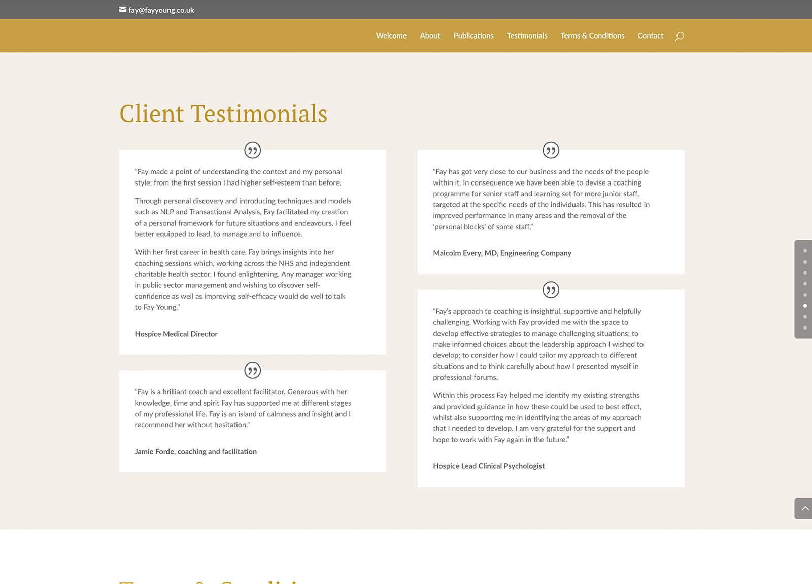 Quick website design for local self-employed consultant website: Testimonials