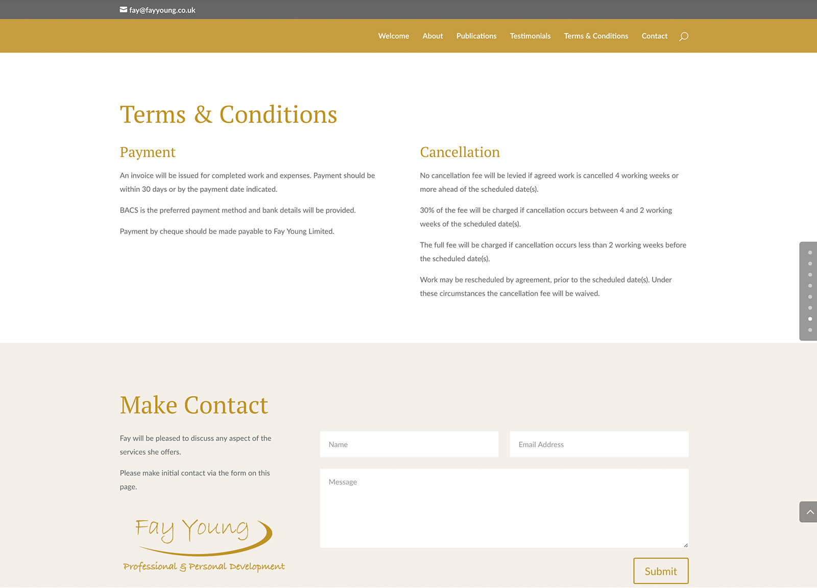 Quick website design for local self-employed consultant website: Contact section