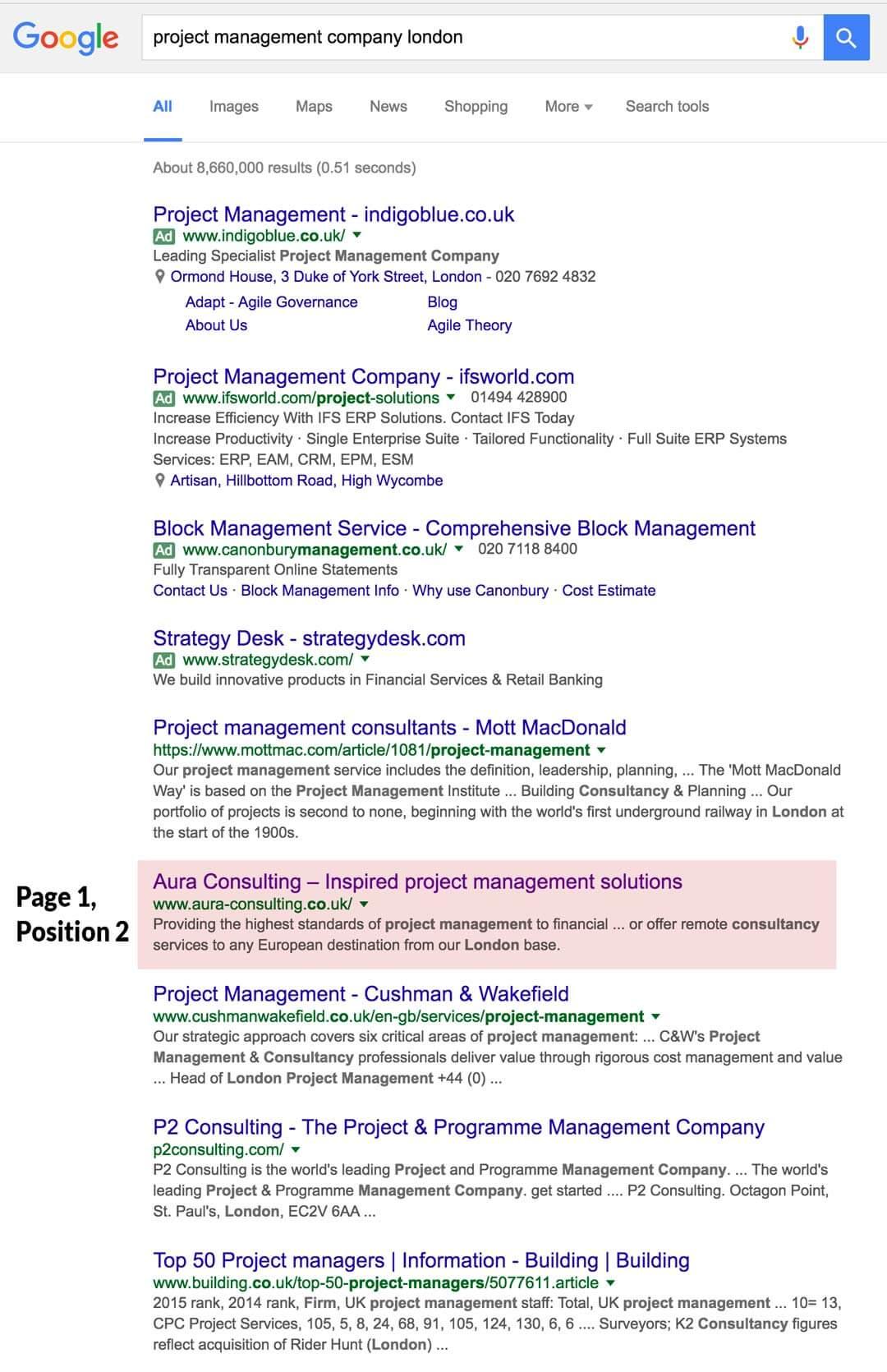 google position - project management company london