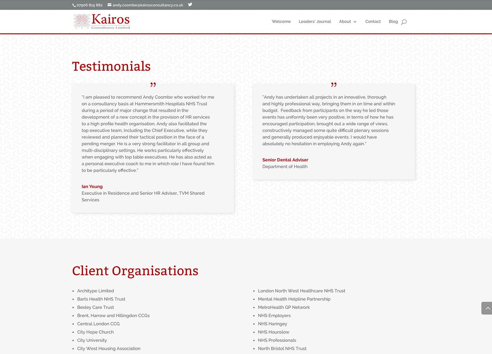 Consultancy company website design: Testimonials section