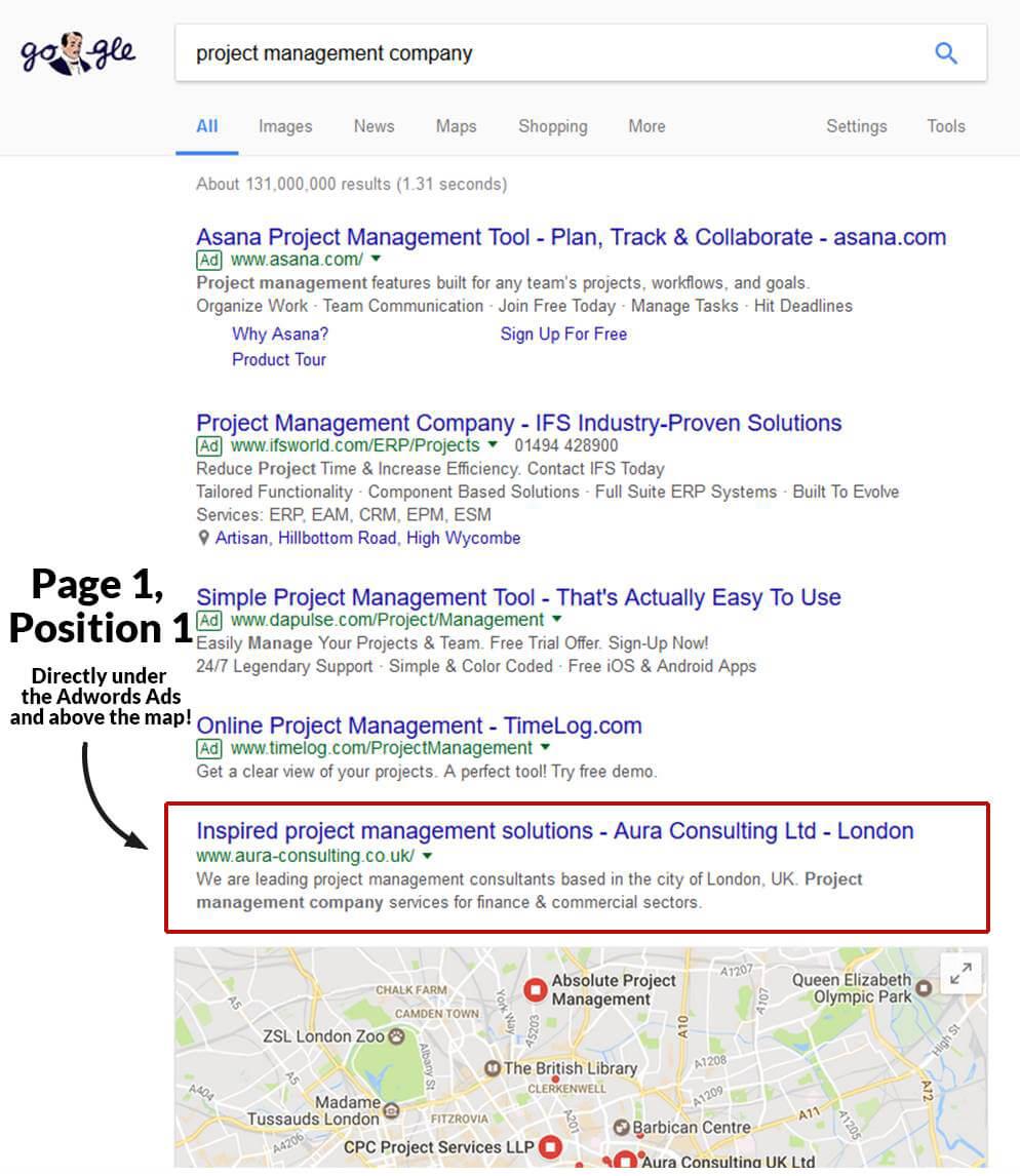 google position - project management company website