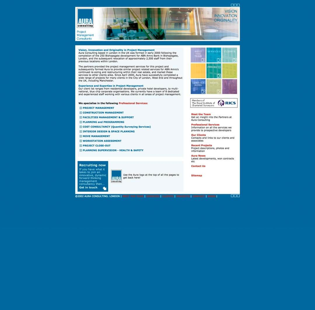 new project management company website for aura consulting 2002