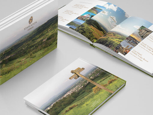 Perfect bound hardback sales brochure for new client Staycation Lodges