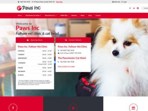 Cat hotel website gets great new look for Fulham vet practice