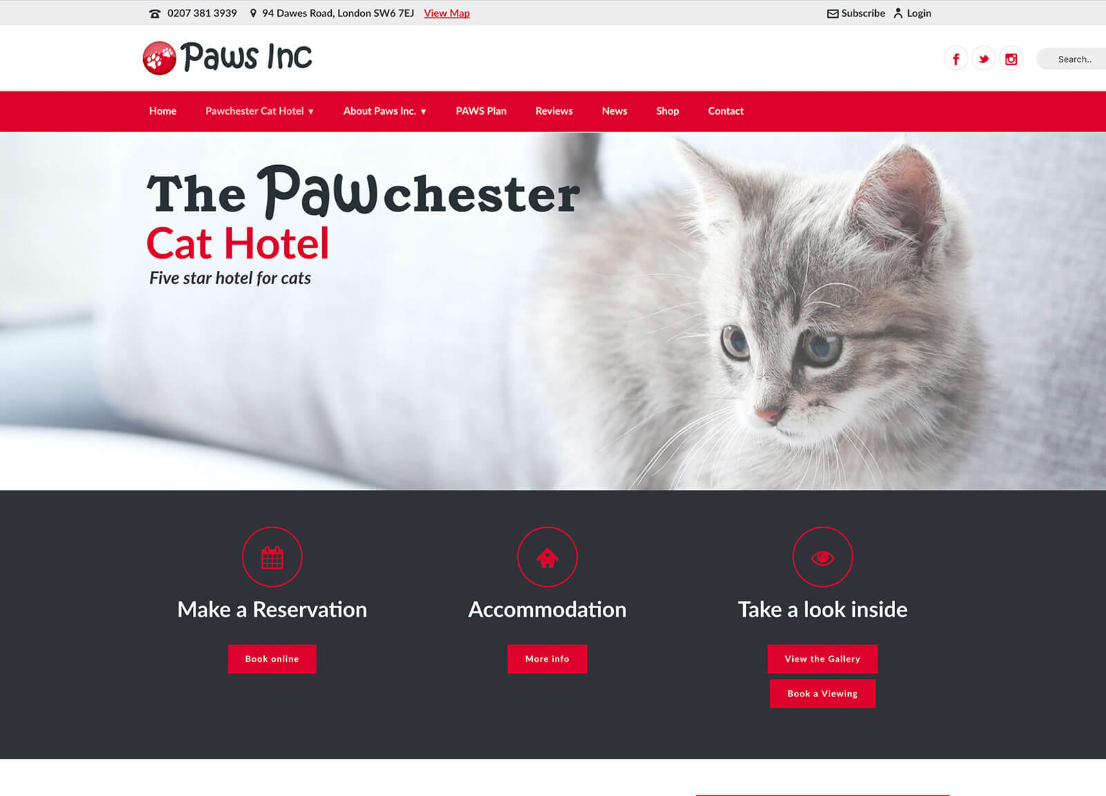 Cat hotel website design - Main cat hotel page
