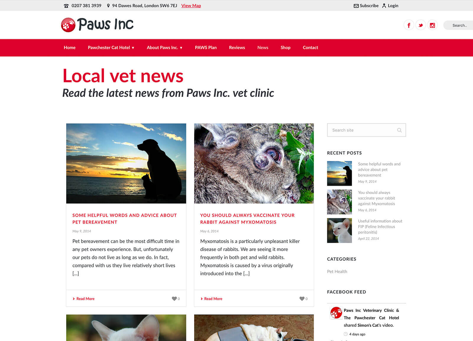 Cat hotel and vet practice website design - Vet news page