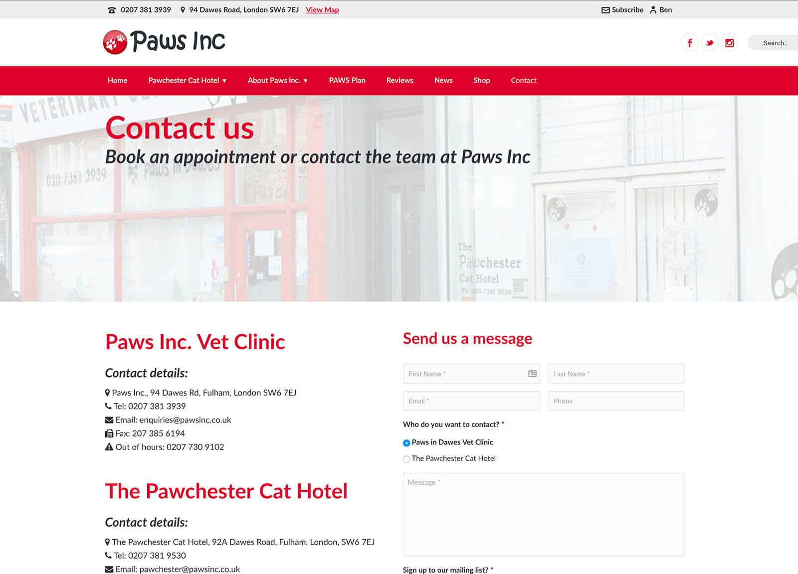 Cat hotel and vet practice website design - Contact page