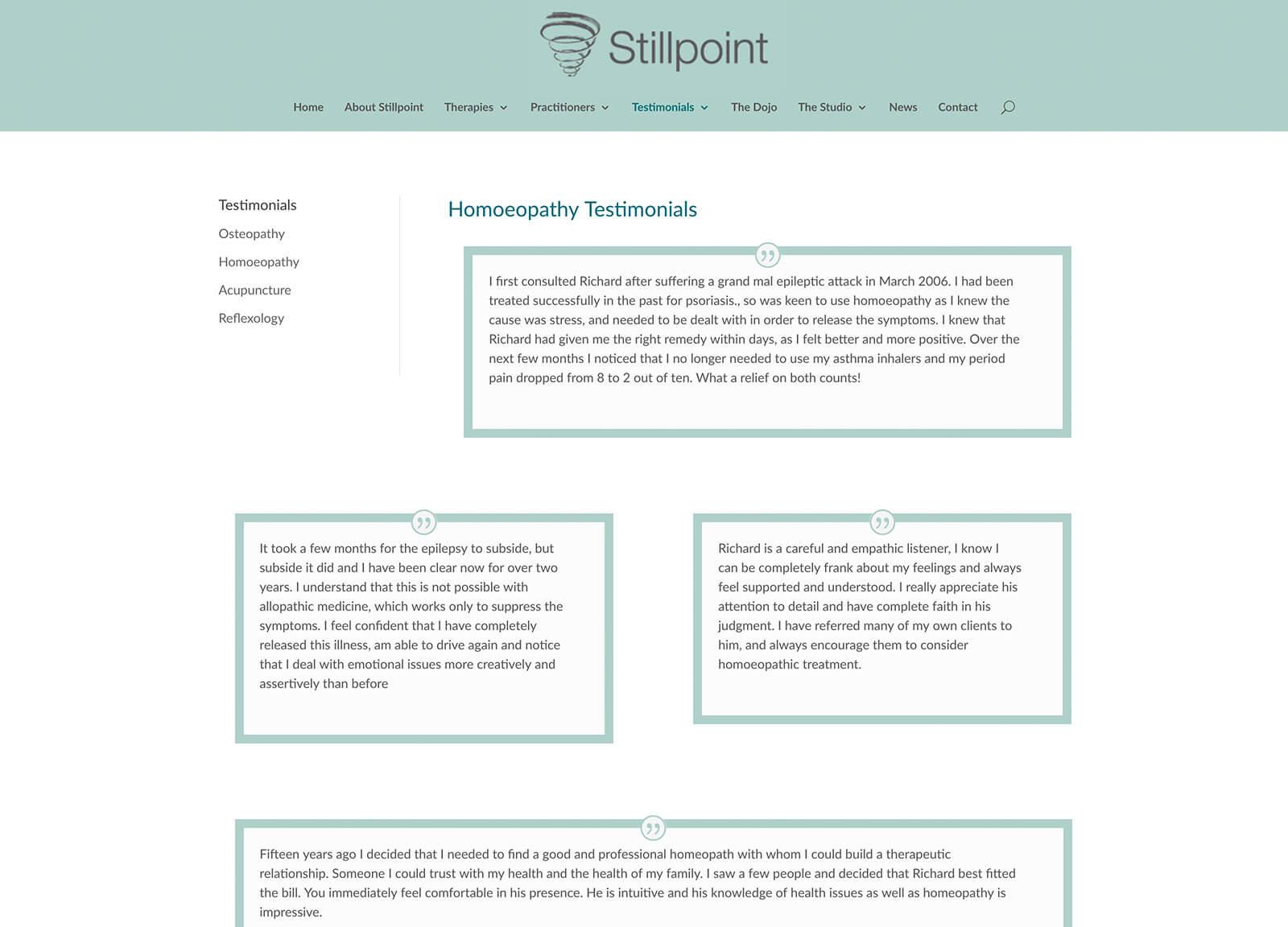 osteopath website - testimonials