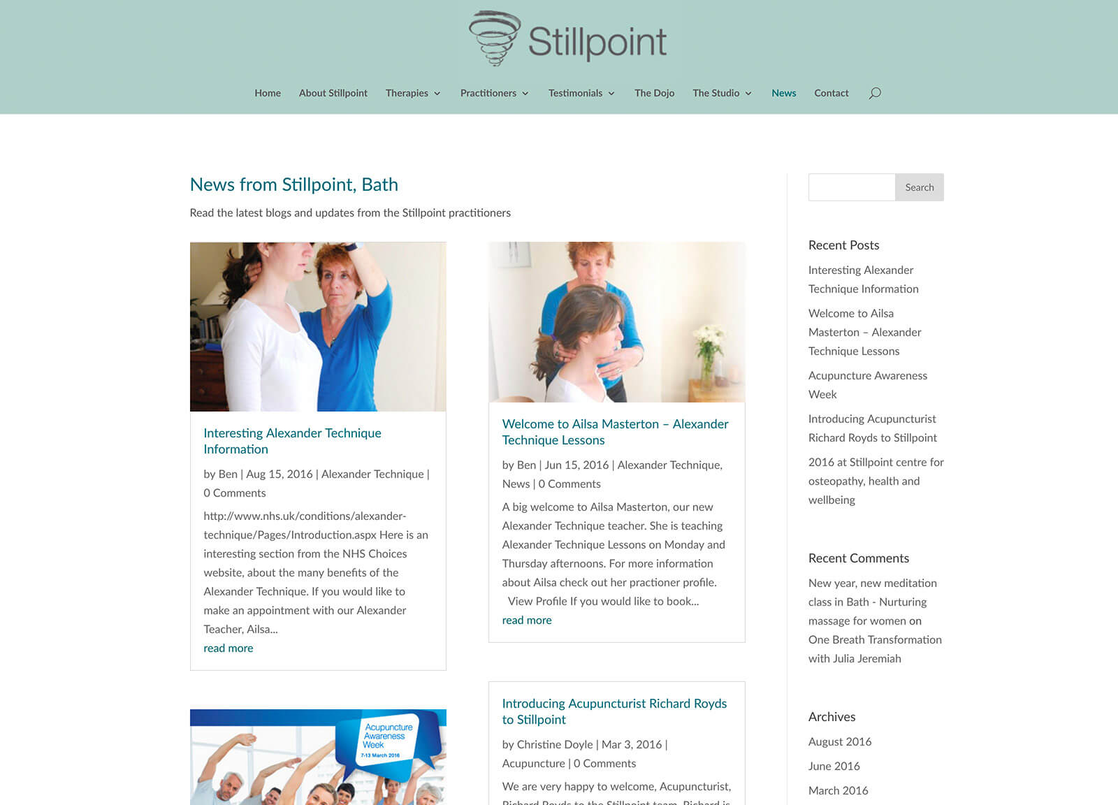 osteopath website - news/blog pages