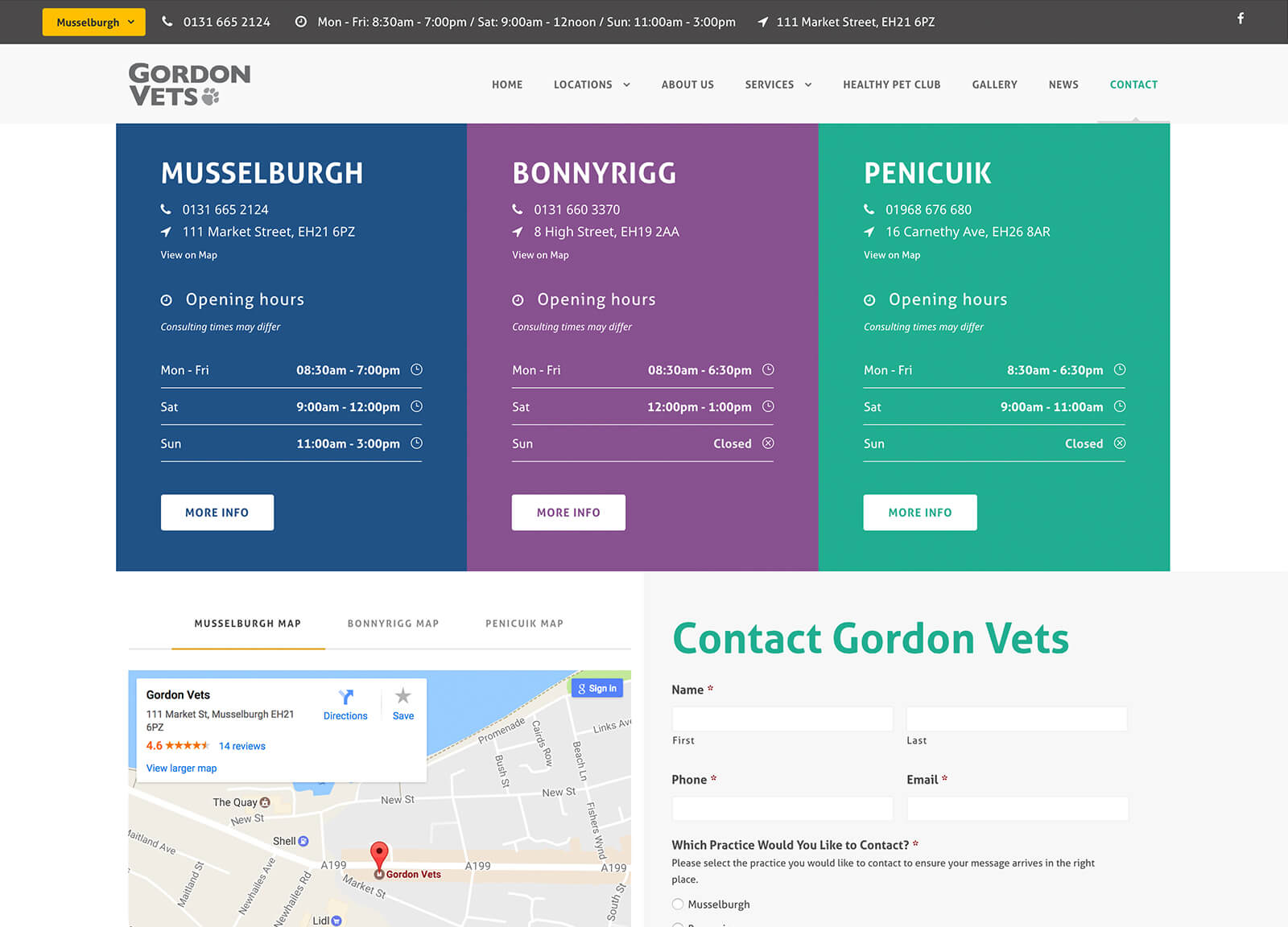 Contact page for Gordon Vets website