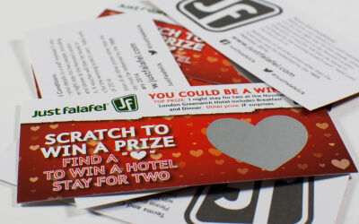 Valentines themed scratch cards win the hearts of diners