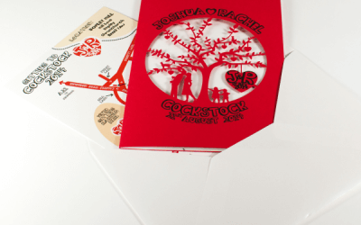 Custom printed laser cut wedding invitations