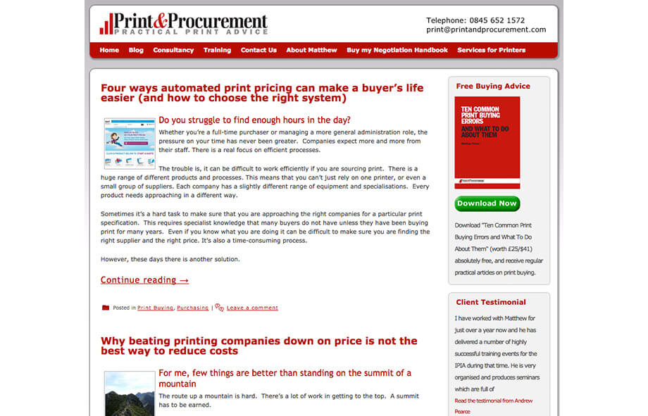 Printing Blogs Procurement