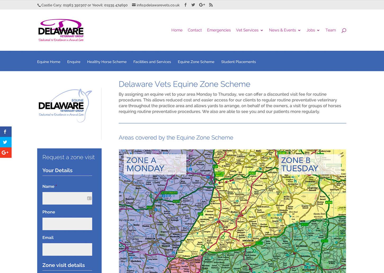 User friendly vet website: Example Practice page
