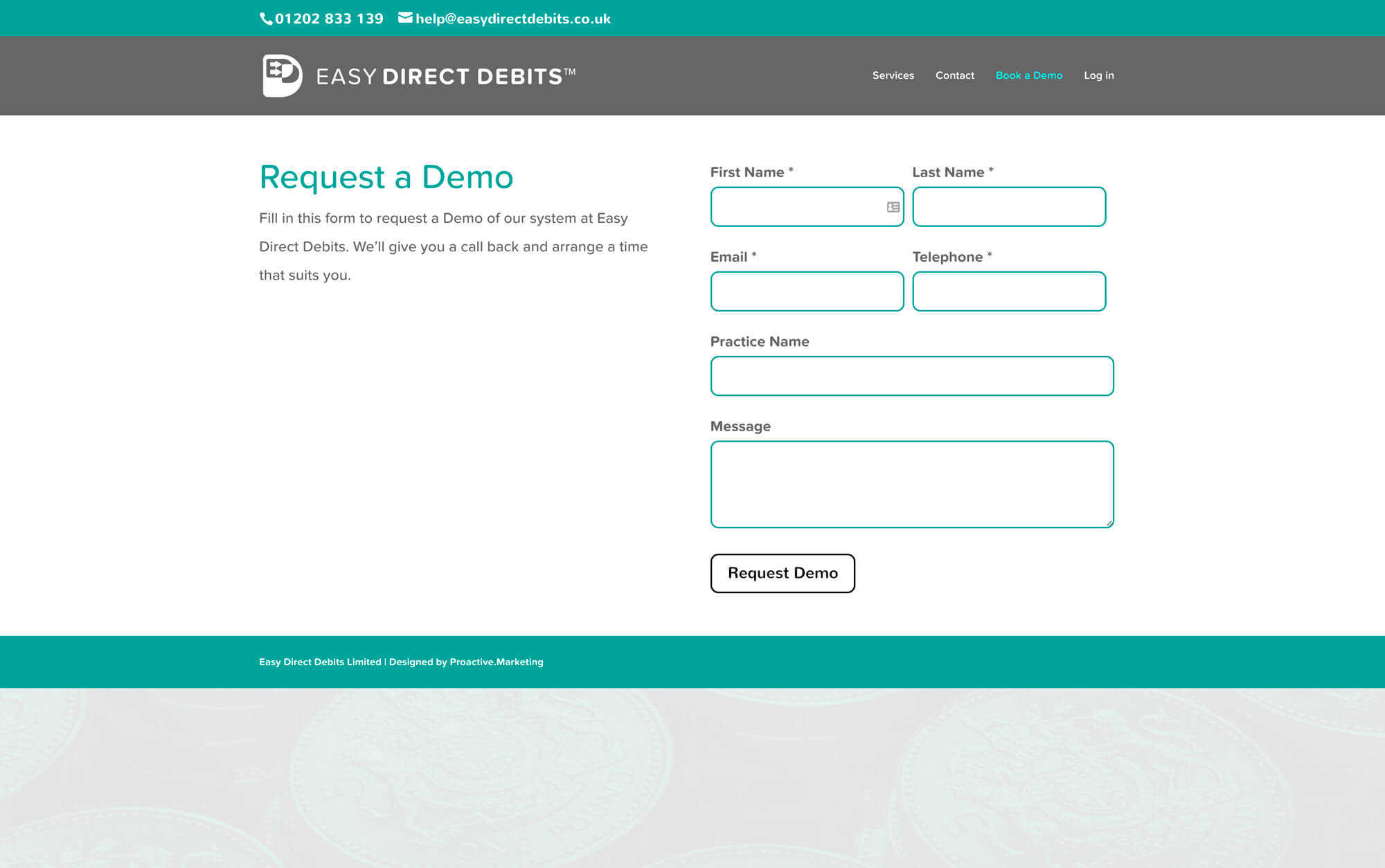 Easy Direct Debits: financial website design - Request a demo page