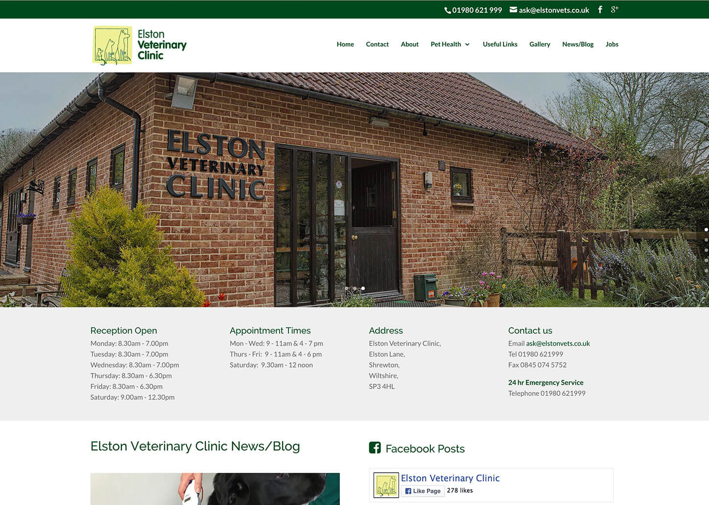 A new veterinary website design for Elston Vets