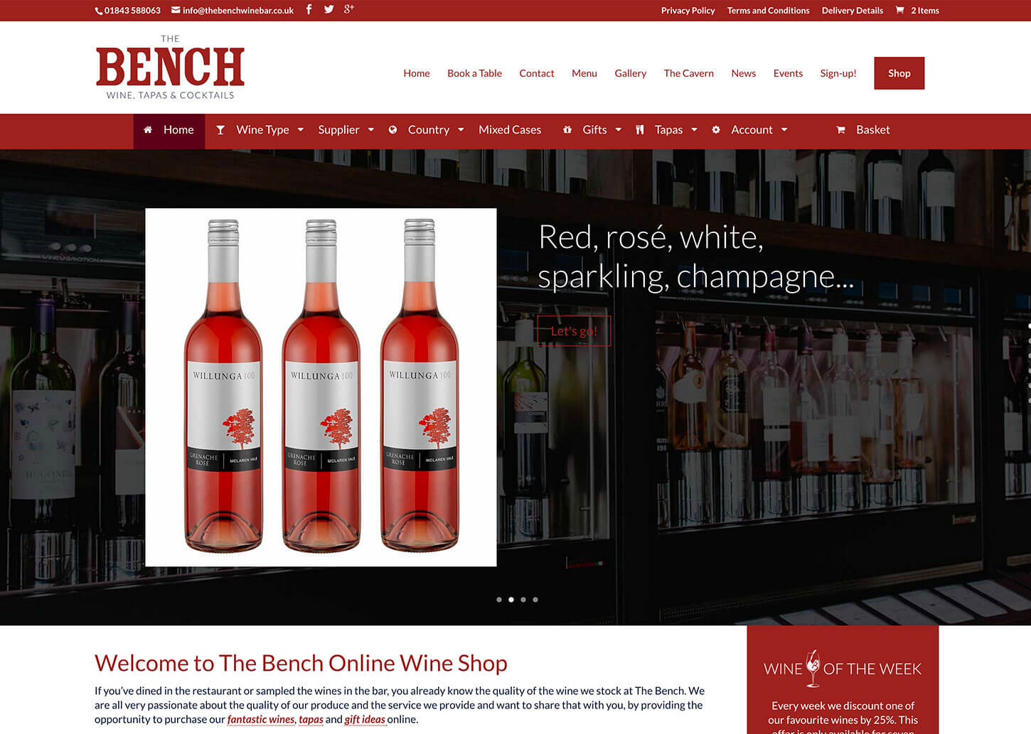 The Bench Restaurant website design - Web shop