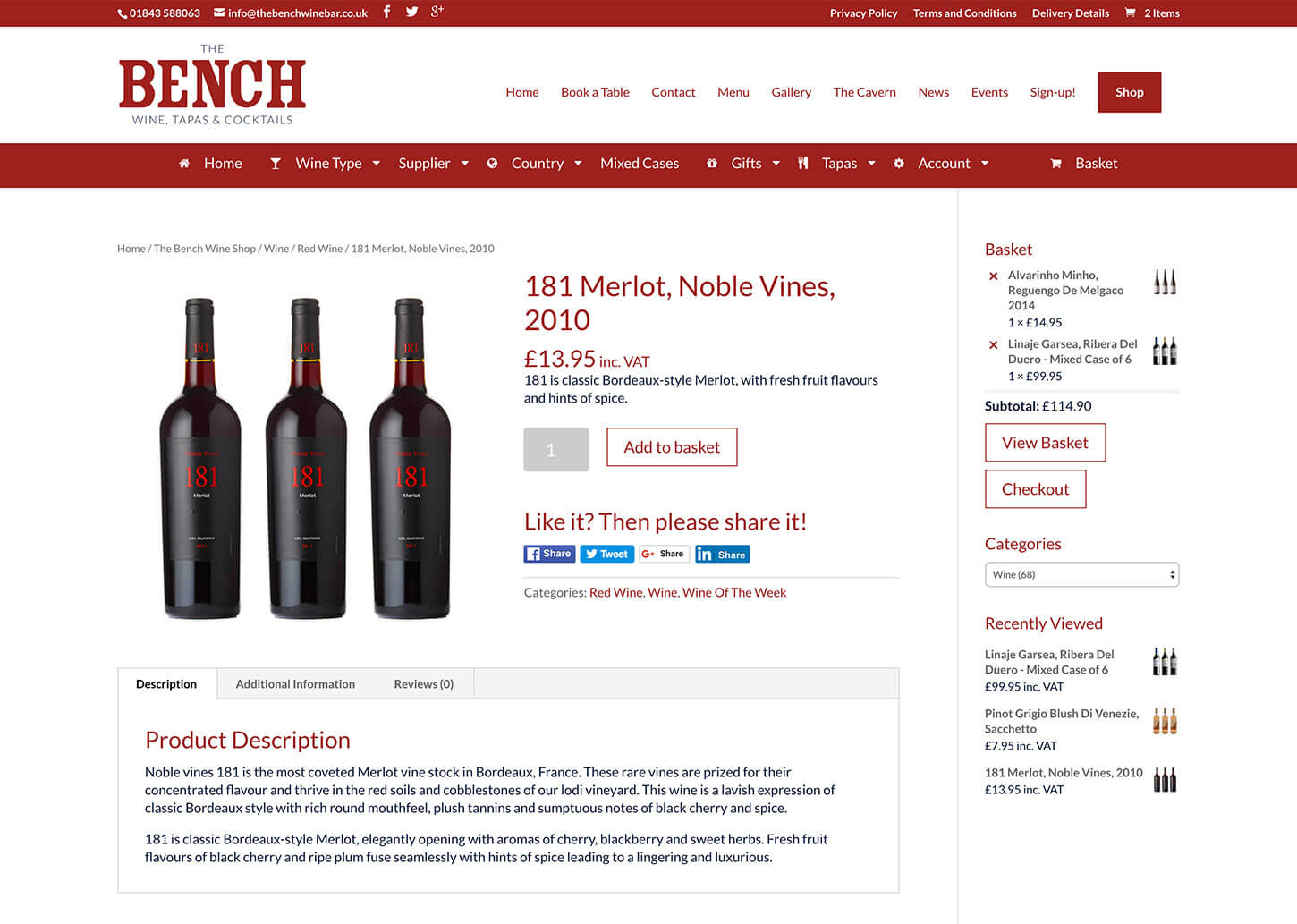 The Bench Restaurant website design - Example online shop page