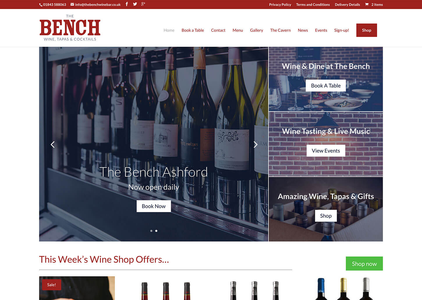The Bench Restaurant website design - Home page