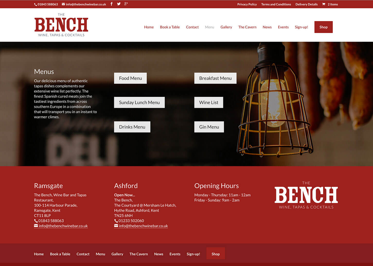 The Bench Restaurant website design - Menu page