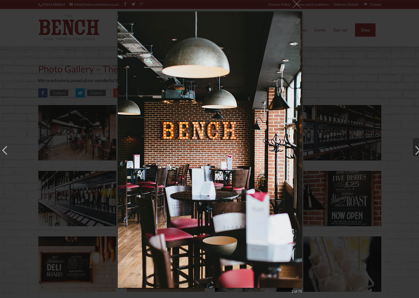 The Bench Restaurant website design - Image Gallery