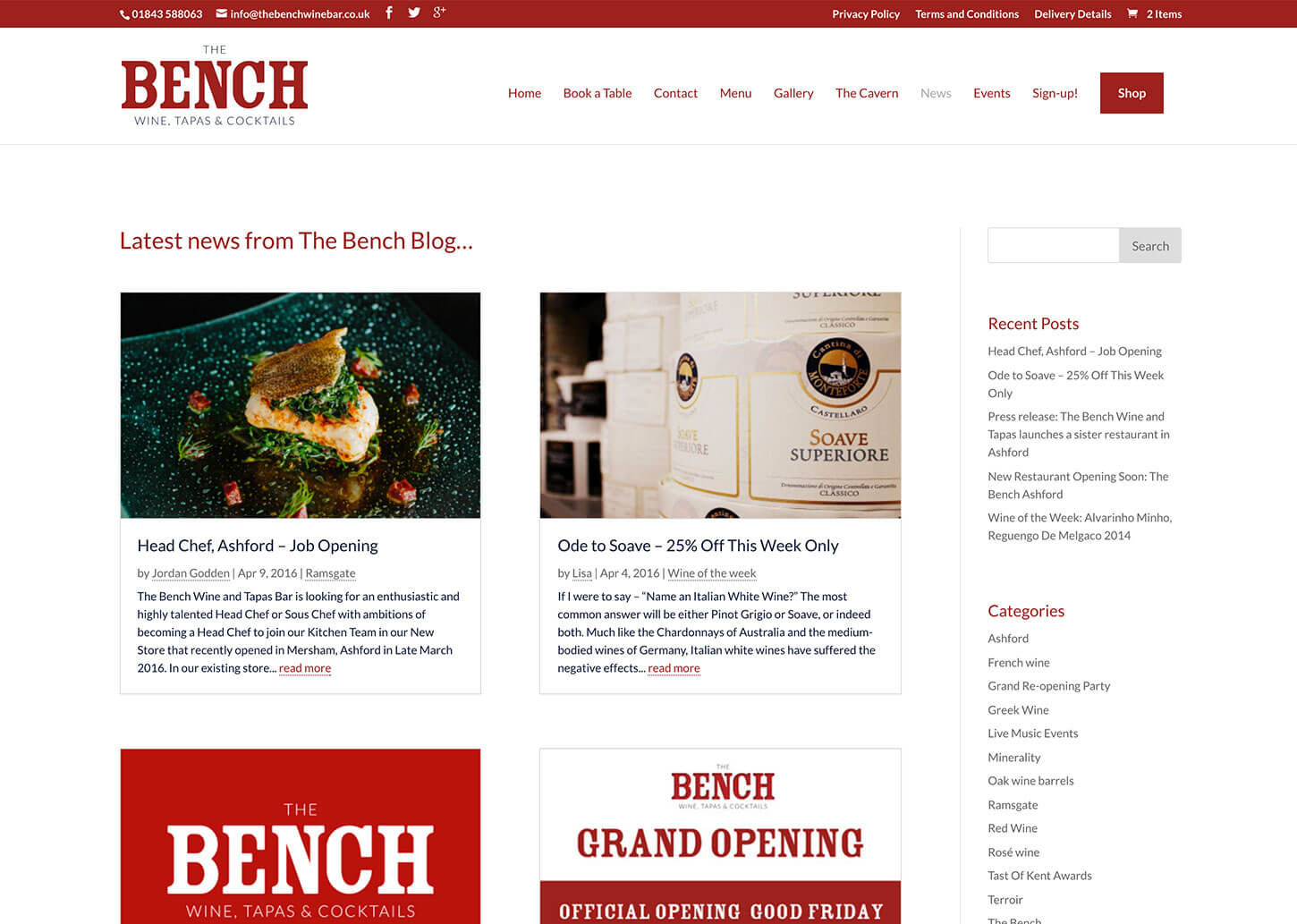 The Bench Restaurant website design - News / Blog page