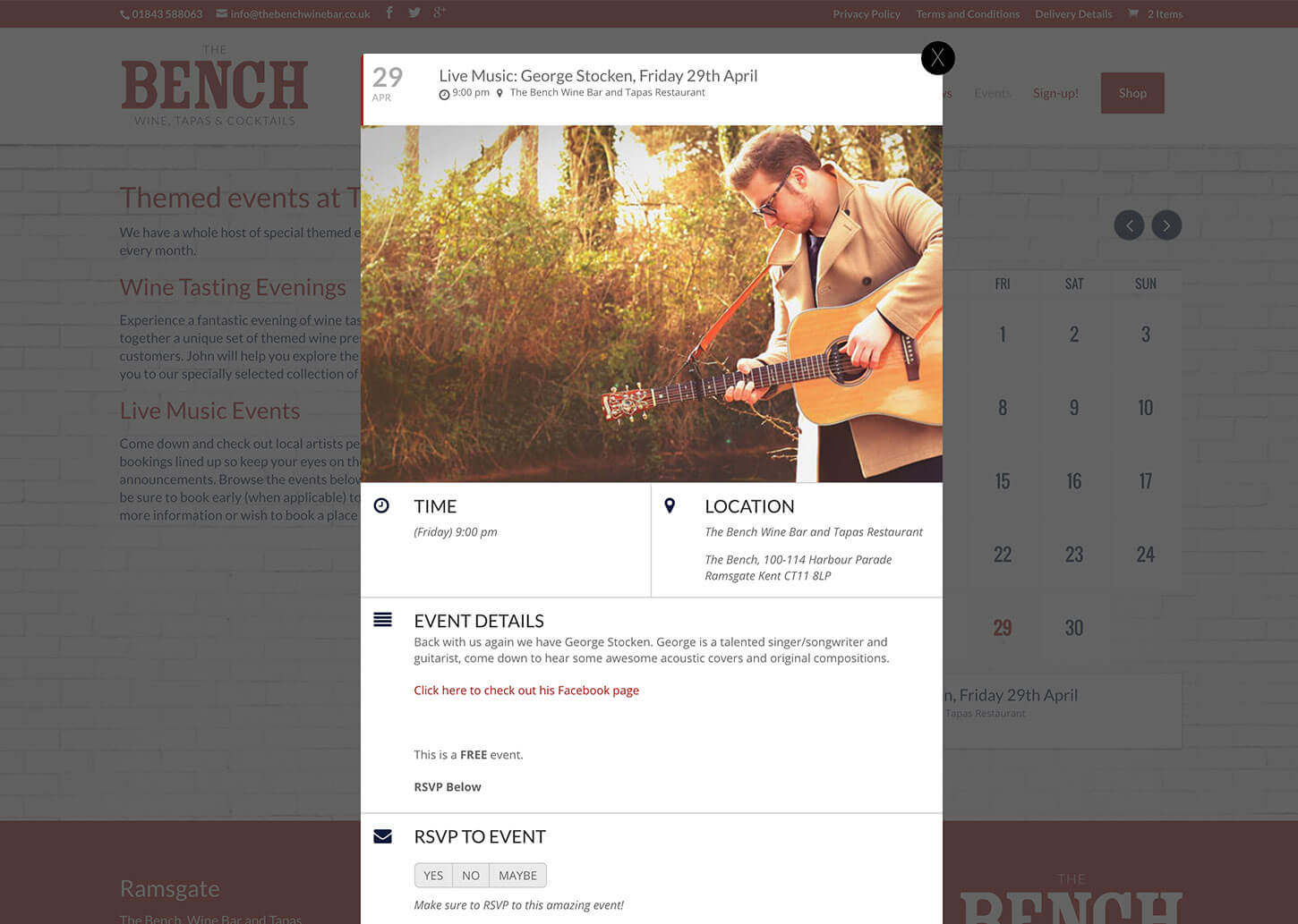 The Bench Restaurant website design - Event Calendar