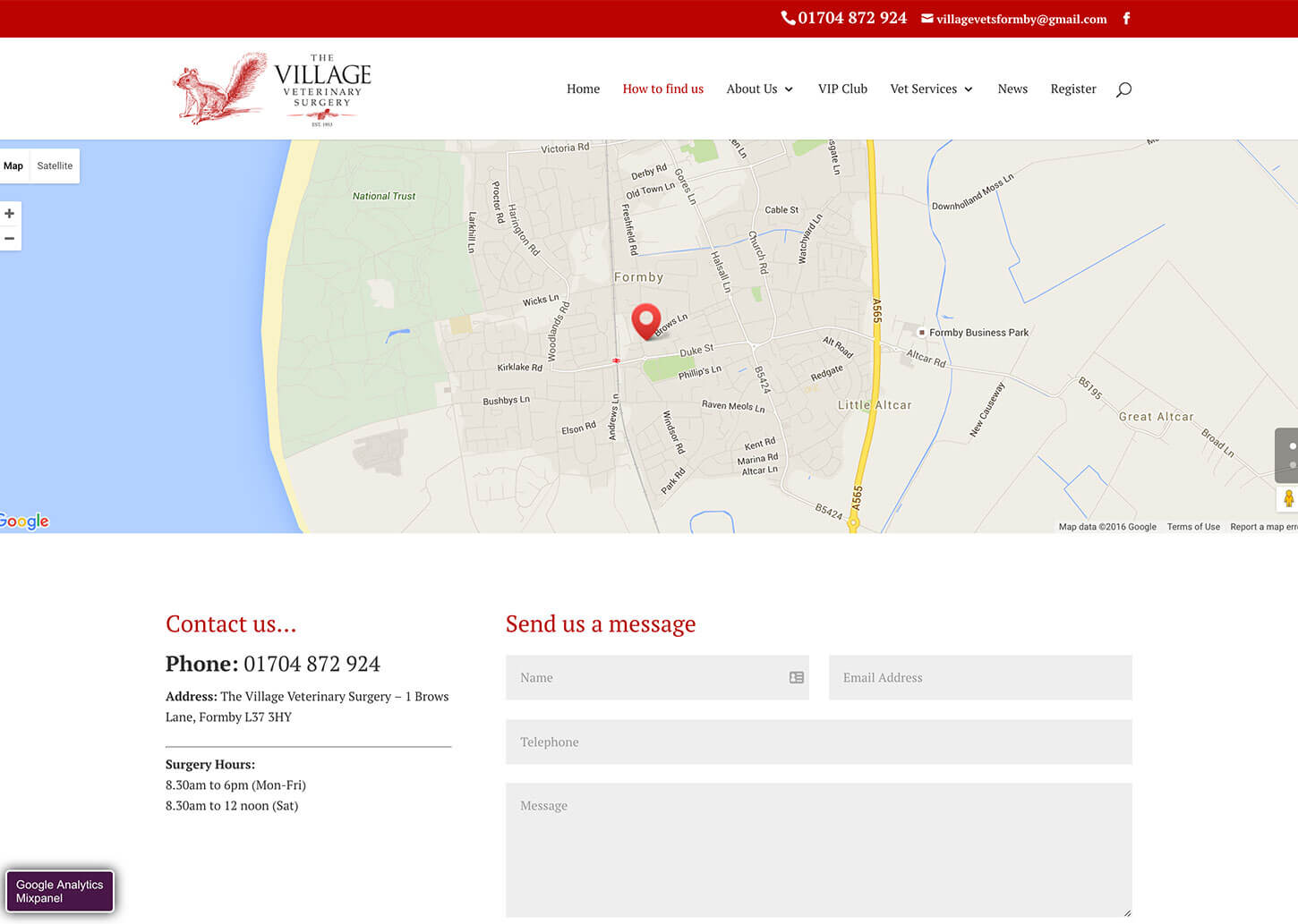 Village Vets website design: Contact page with google map