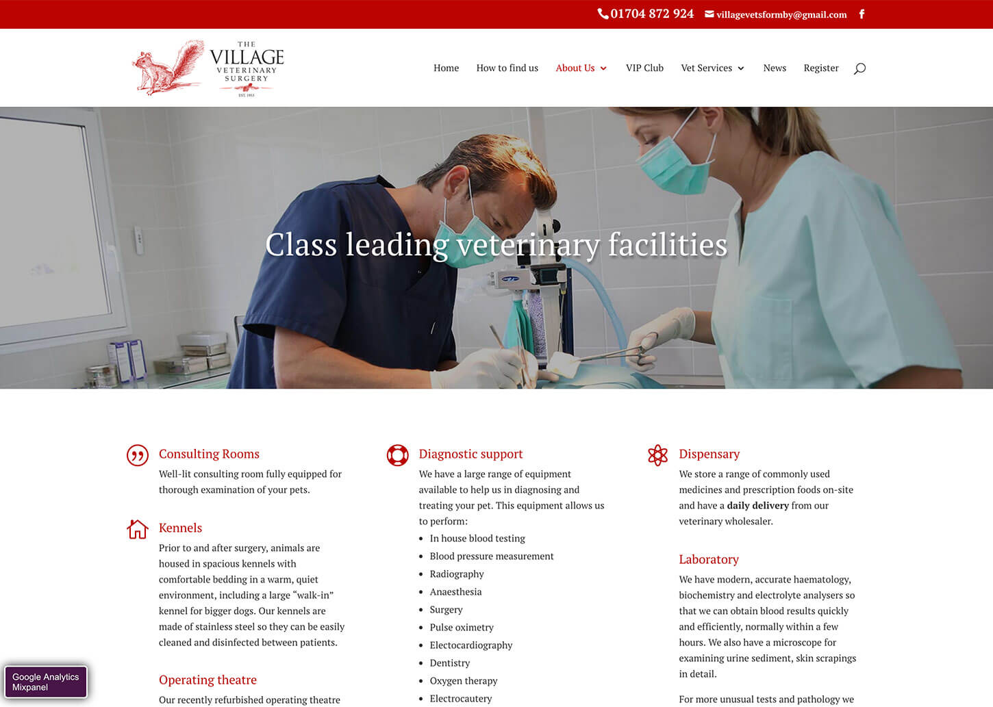Village Vets website design: Veterinary practice facilities page
