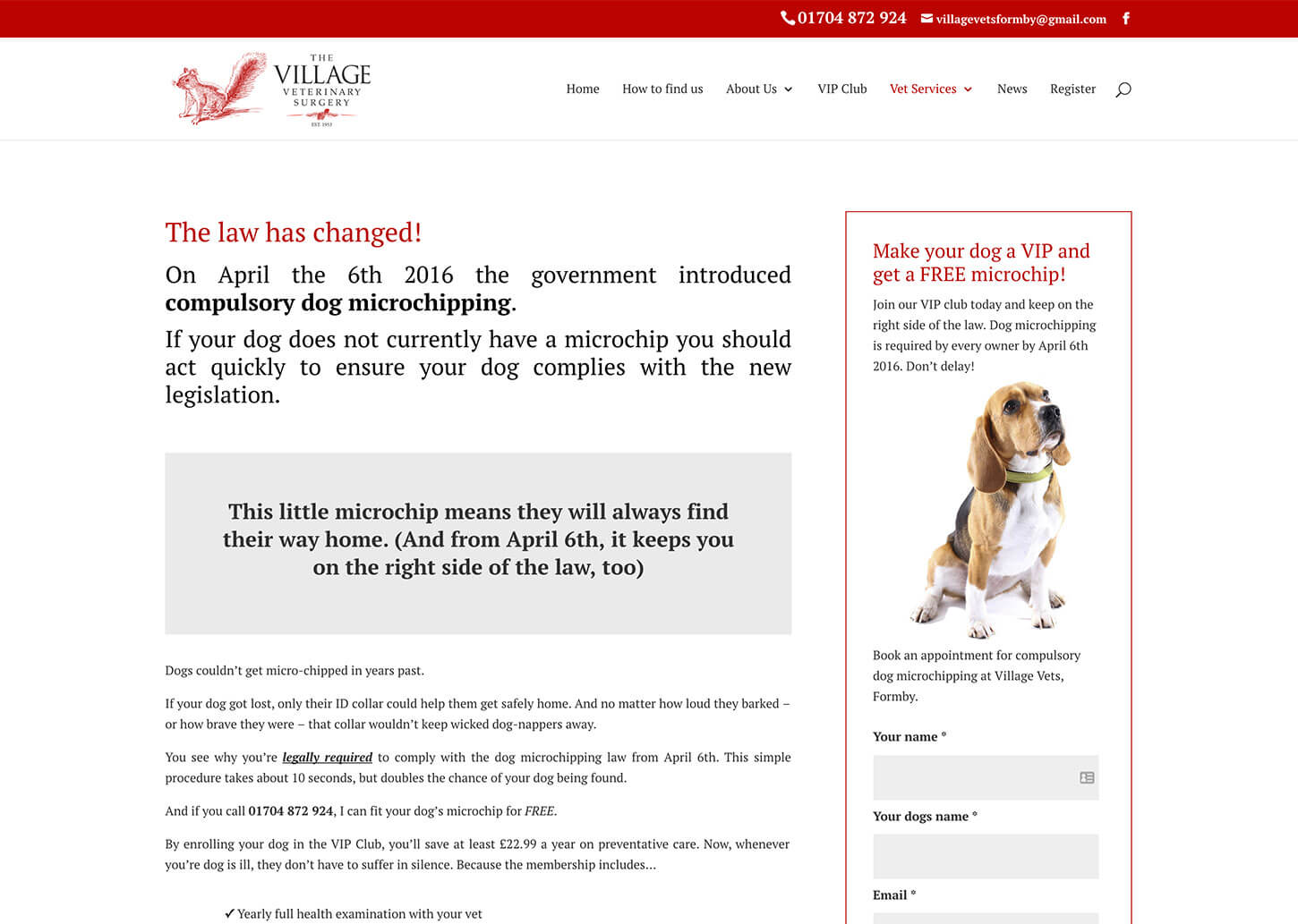 Village Vets website design: Compulsory dog microchipping landing page