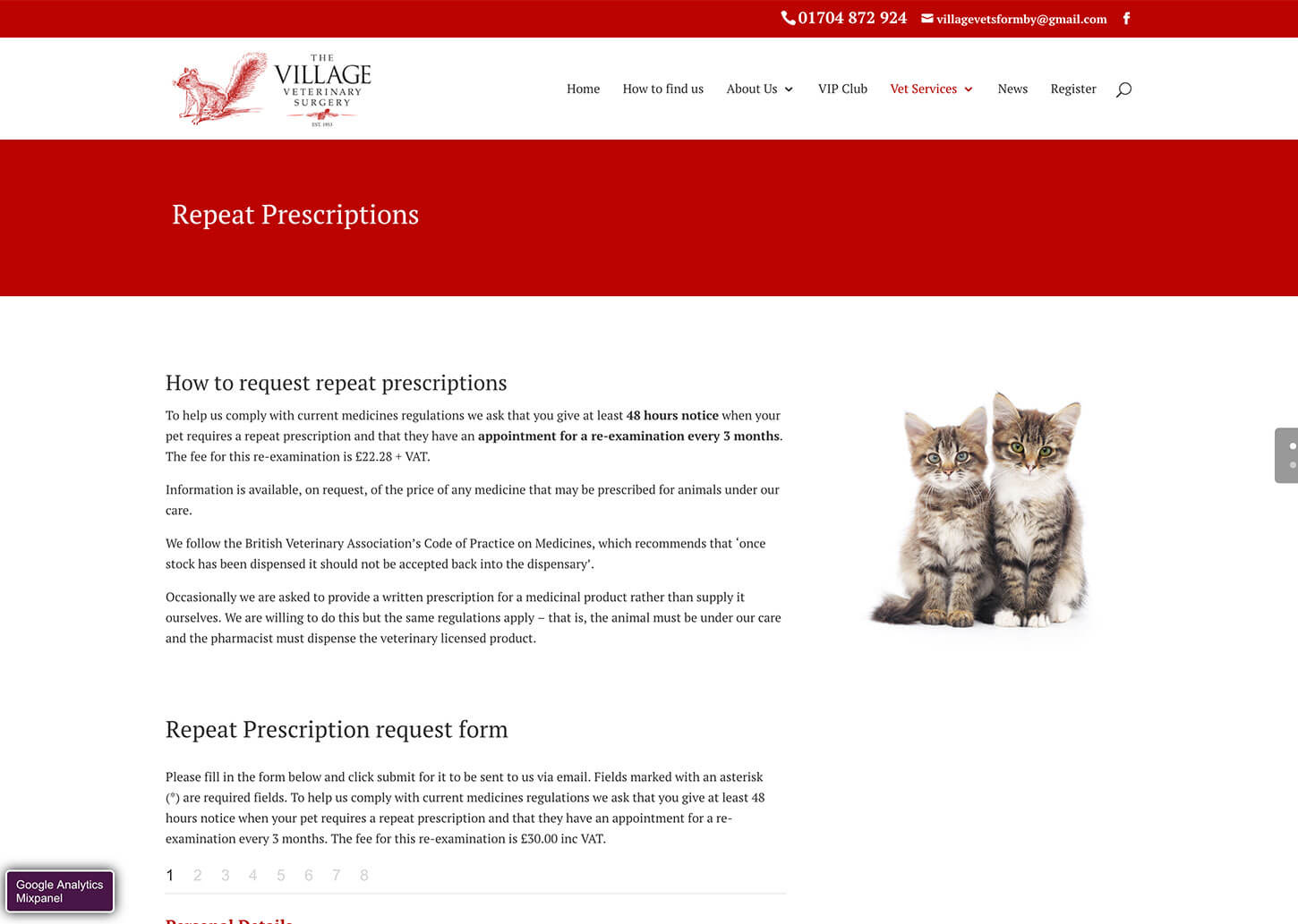 Village Vets website design: Repeat prescriptions page