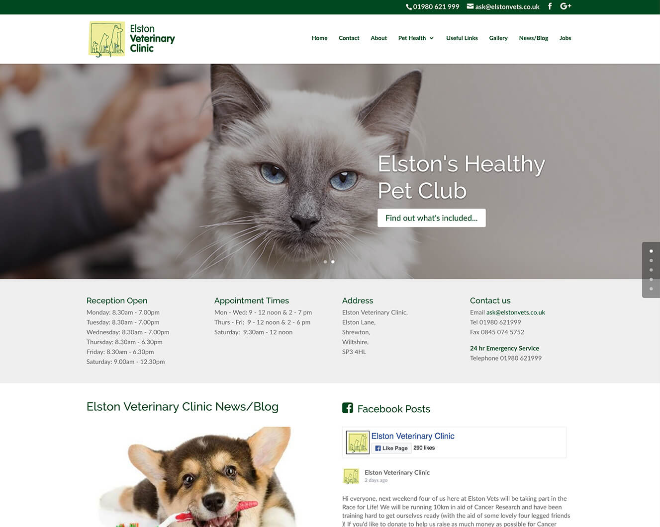 Veterinary website design for Elston Vets: Home Page