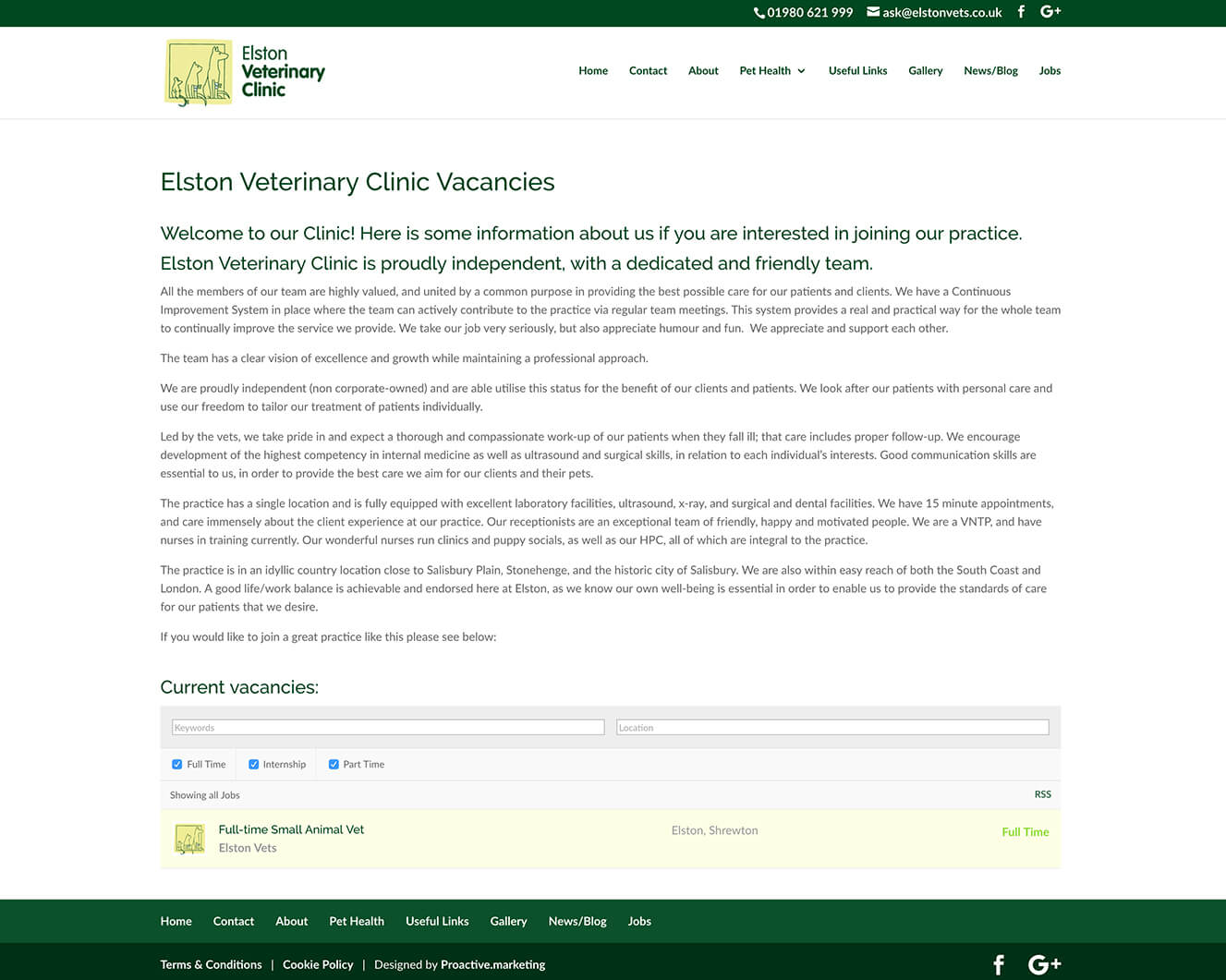 Veterinary website design for Elston Vets: Job vacancy page