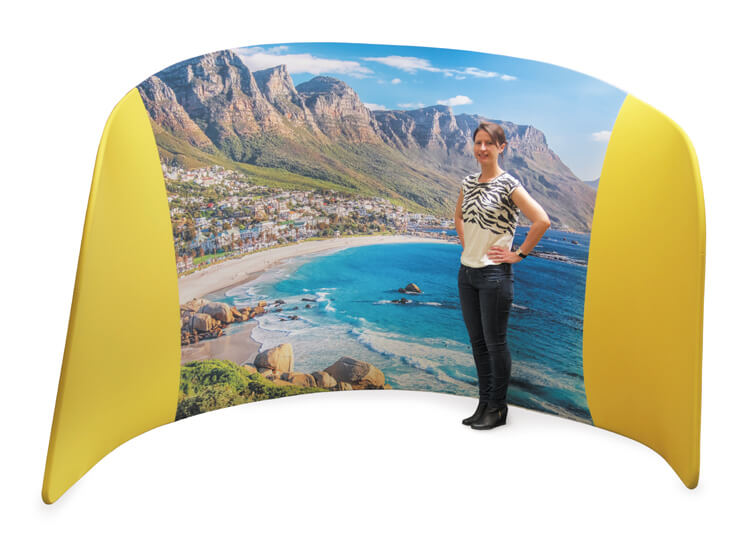 Fabric exhibition display stands - Embrace fabric booth - 2.3m (h) x 2.85m (w) x 2m (d)
