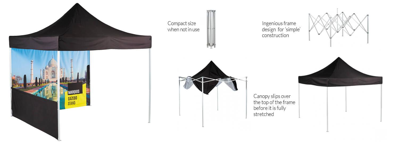 Lightweight display stand: Fabric printed exhibition gazebo - 3.0m(h) x 3.0m(w) 3.0m(d)
