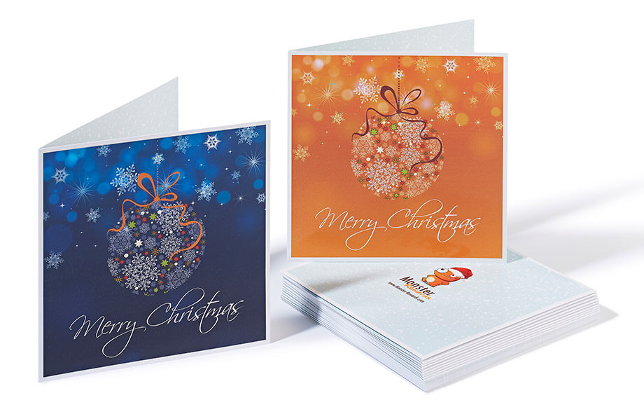 Christmas printing for a travel marketing company - full colour gloss laminated Christmas cards.