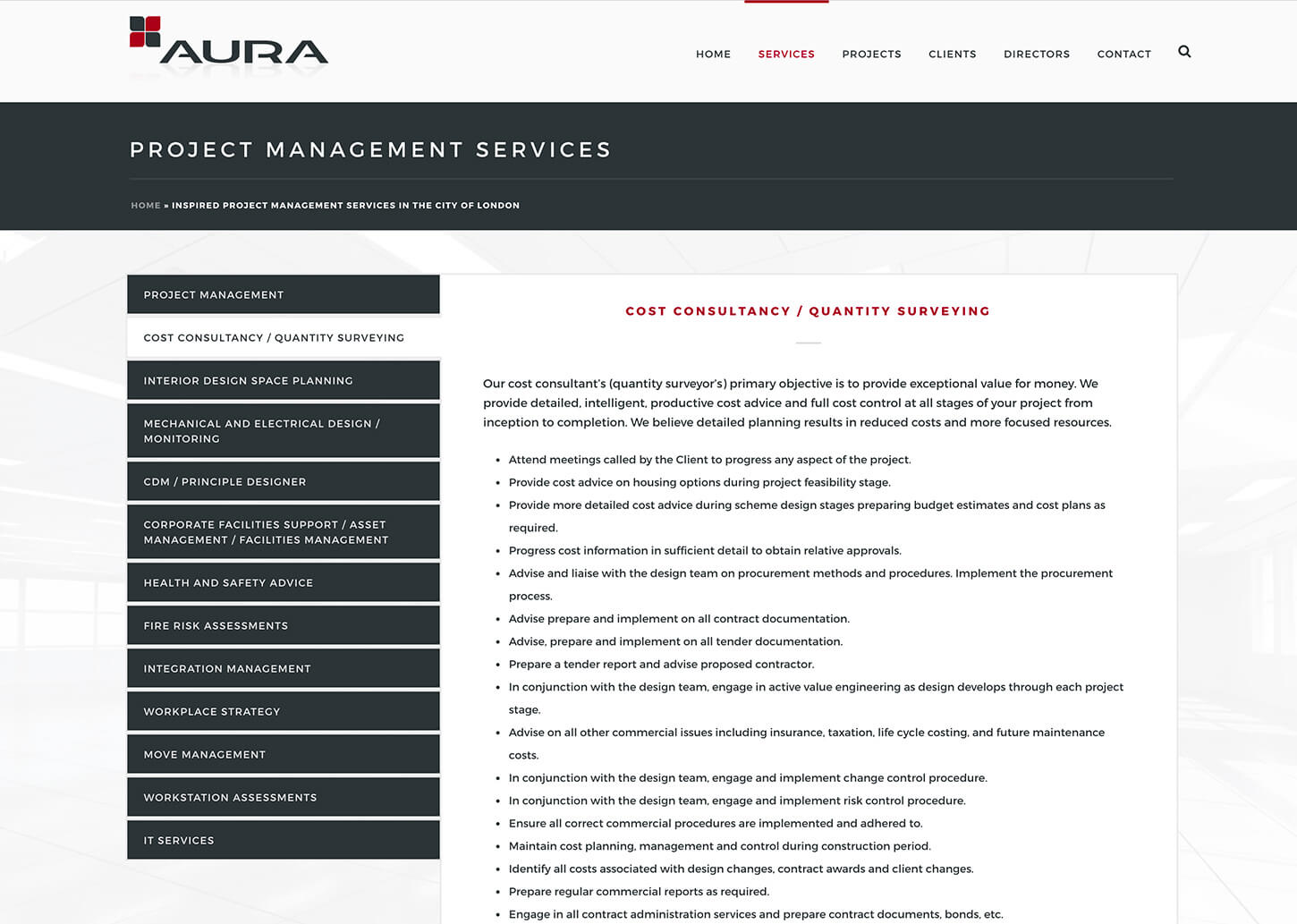 Project management company website: Project management page